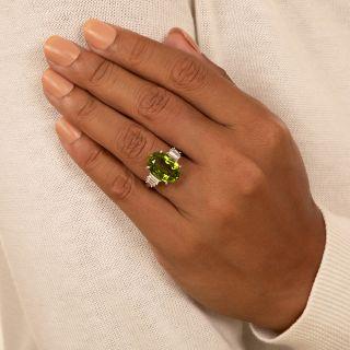 Estate 9.00 Carat Peridot and Baguette Diamond Ring