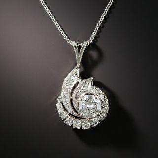 Estate .90 Carat Center Diamond Swirl Pendant - GIA G SI1 - 1
