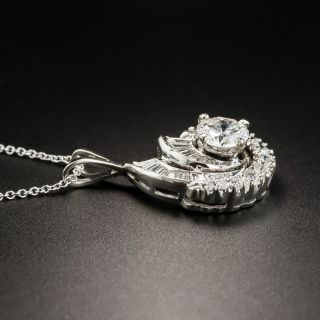 Estate .92 Carat Center Diamond Swirl Pendant - GIA E SI1