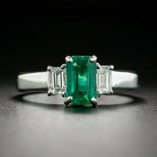 Estate .90 Carat Emerald and Diamond Three-Stone Ring - 1
