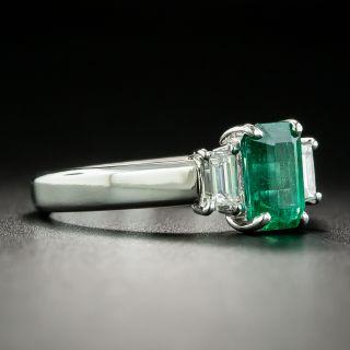 Estate .90 Carat Emerald and Diamond Three-Stone Ring