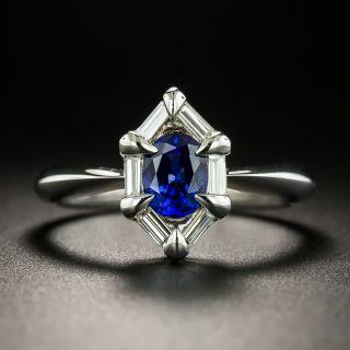 Estate .90 Carat Sapphire and Baguette Diamond Ring - 2