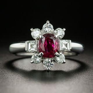Estate .91 Carat No-Heat Ruby and Diamond Ring - 1