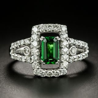 Estate .91 Carat Tsavorite Garnet and Diamond Ring - 3