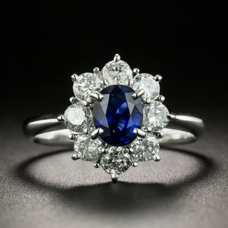 Estate .95 Carat Sapphire Diamond Cluster Ring - 1