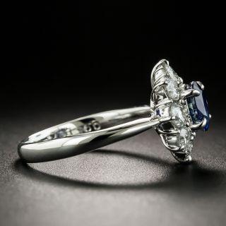 Estate .95 Carat Sapphire Diamond Cluster Ring
