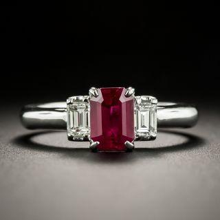 Estate .97 Carat Burmese Ruby and Diamond Ring  - GIA - 1