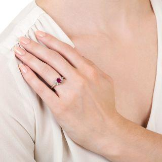 Estate .97 Carat Burmese Ruby and Diamond Ring  - GIA