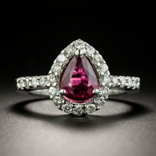 Estate .97 Carat No-Heat Pear Shape Ruby and Diamond Ring - GIA - 2