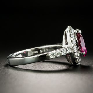Estate .97 Carat No-Heat Pear Shape Ruby and Diamond Ring - GIA