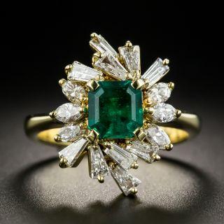 Estate .99 Carat Emerald and Diamond Spray Ring - 1