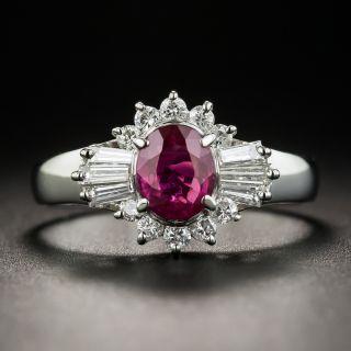 Estate .99 Carat Ruby and Diamond Platinum Ring - 5