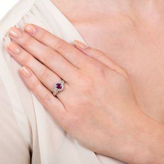 Estate .99 Carat Ruby and Diamond Platinum Ring