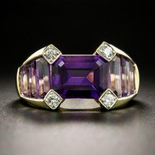 Estate Amethyst and Diamond Ring - 2