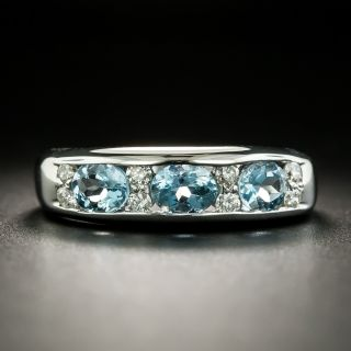 Estate Aquamarine and Diamond Band - 2