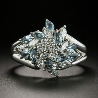 Estate Aquamarine and Diamond Cluster Ring - 2
