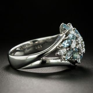 Estate Aquamarine and Diamond Cluster Ring