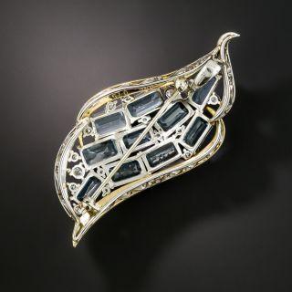 Estate Aquamarine and Diamond Wave Brooch