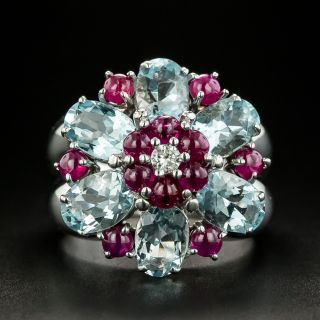 Estate Aquamarine and Ruby Ring by Zoccai - 2