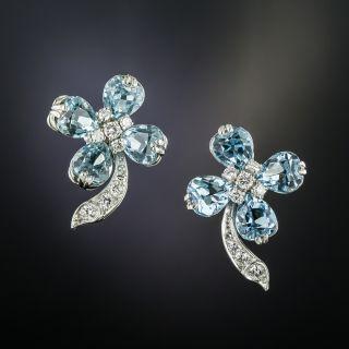 Estate Aquamarine Diamond Earrings - 2