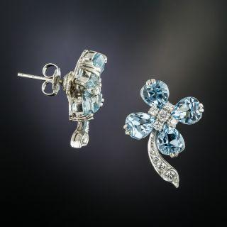 Estate Aquamarine Diamond Earrings