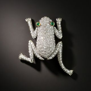Estate Articulating Diamond Frog Brooch - 2