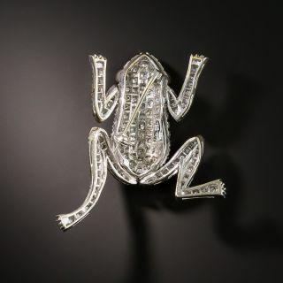 Estate Articulating Diamond Frog Brooch