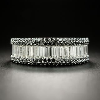 Estate Baguette And Black Diamond Band Ring - 2