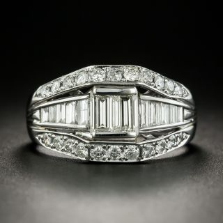 Estate Baguette and Round Brilliant Cut Diamond Band Ring - 2