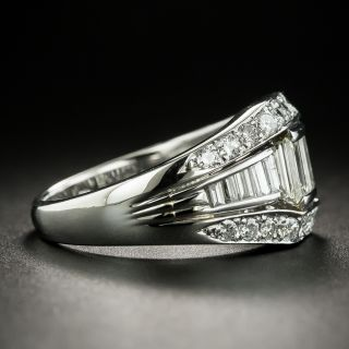 Estate Baguette and Round Brilliant Cut Diamond Band Ring