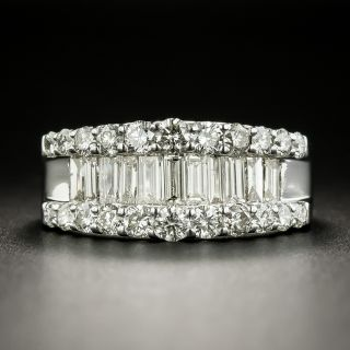Estate Baguette and Round Diamond Band Ring - 2