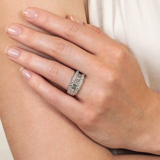 Estate Baguette and Round Diamond Band Ring