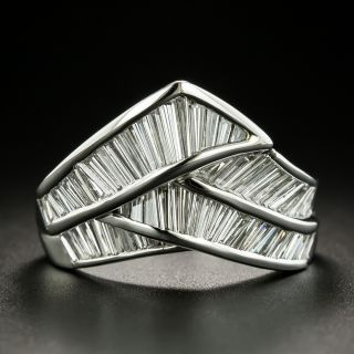 Estate Baguette Diamond Chevron-Shaped Ring - 2