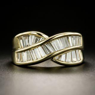 Estate Baguette Diamond Crossover Band Ring - 2