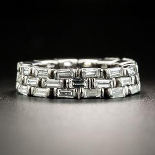 Estate Baguette Diamond Flexible Band, Size 6- - 1