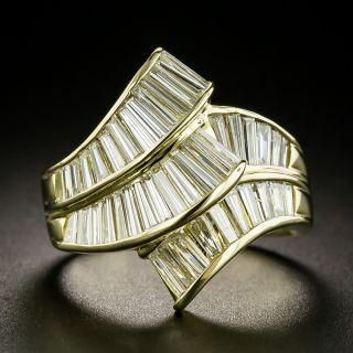 Estate Baguette Diamond Ribbon Ring - 1