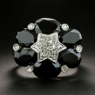 Estate Black Onyx and Diamond Ring - 2