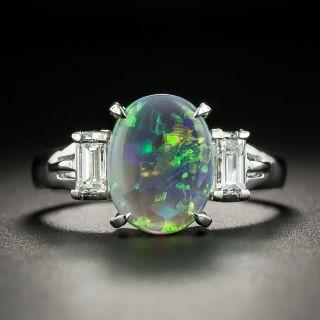 Estate 1.32 Carat Black Opal and Baguette Diamond Ring - 1