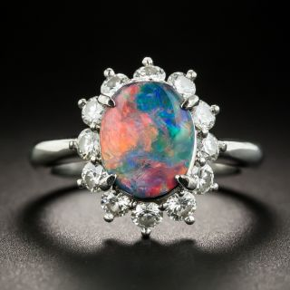 Estate Black Opal and Diamond Halo Ring - 1