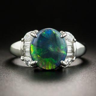 Estate 2.17 Carat Black Opal and Diamond Ring - 1
