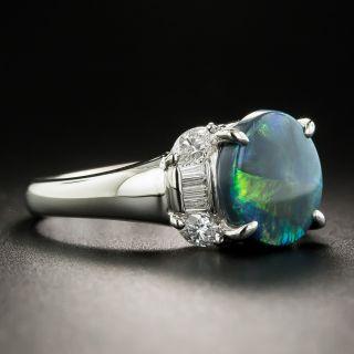 Estate Black Opal and Diamond Ring