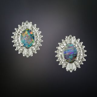 Estate Black Opal and Diamond Stud Earrings - 3