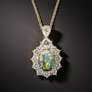 Estate Black Opal Diamond Halo Pendant - 2
