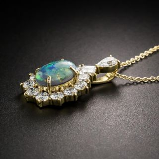 Estate Black Opal Diamond Halo Pendant