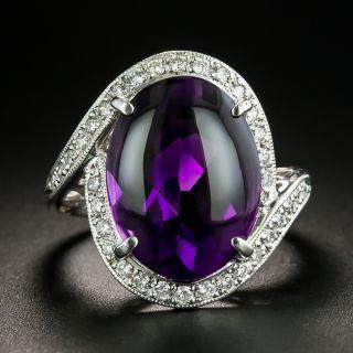 Estate Buff Top Amethyst and Diamond Ring - 2