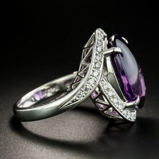 Estate Buff Top Amethyst and Diamond Ring