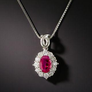 Estate Burma Ruby Platinum Diamond Drop - 2