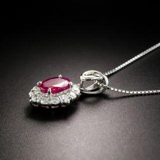 Estate Burma Ruby Platinum Diamond Drop
