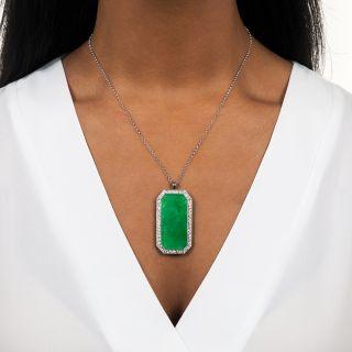 Estate Burmese Jade and Diamond Pendant Necklace