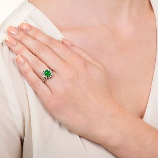 Estate Burmese Jade Cabochon and Diamond Ring
